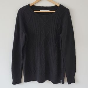 Woolrich Crew Neck Black Front Cable Knit Wool Mohair Blend Women's Size Large